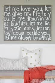 Song Bedroom Diy Graffiti Art Using Wedding Song Lyrics A Gift To My Husband