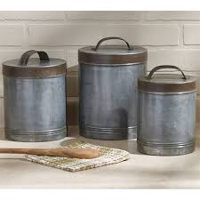 metal canisters kitchen galvanized metal canister set of 3 by park designs country kitchen