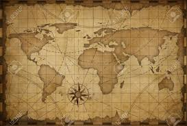 Vintage World Map by Old Nautical Vintage World Map Theme Background Stock Photo