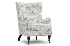 French Linen Armchair Livingston Beige Linen Accent Chair With Colonial Print