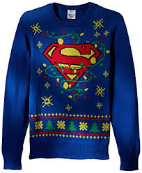 ugly christmas sweater with lights dc comics batman men s superman logo ugly christmas sweater with led