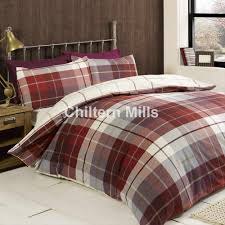 lomand check red brushed cotton duvet set