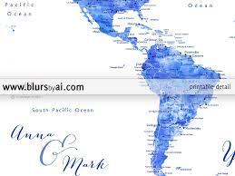 Costa Rica On World Map by Personalized World Map Printable Art In Blue Watercolor Effect