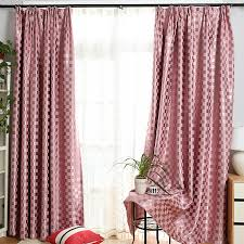 Plaid Blackout Curtains Modern Style Pink Color Blackout Plaid Curtains