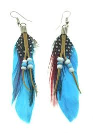 feather earrings online royal blue three feather earrings feather dangle earrings