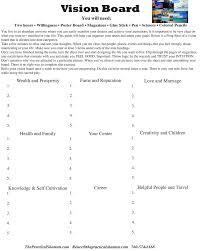 free printable vision board planning worksheet vision