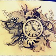 pocket watch sketch beautiful leaves in the background as a