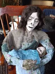 Lifesize Animated Halloween Props by Moldy Mommy Life Size Animated Halloween Prop Zombie Mom Rocking