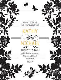 elegant black and white wedding invitation template stock vector