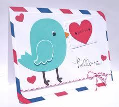 hello friend birthday card blue bird air mail greeting card