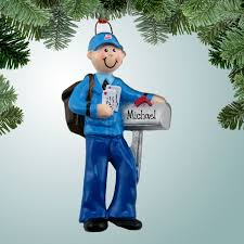 occupations ornaments mailman with mail bag