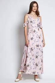 floral maxi dress arielle cold shoulder floral maxi dress in pastel pink