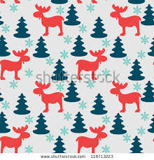 moose wrapping paper christmas seamless pattern moose fir tree stock vector 118713223