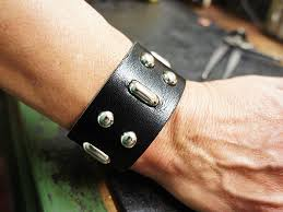 leather bracelet wristband images Hunter thompson leather bracelet black urban wrist jpg