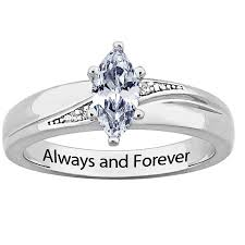 engagement ring engravings sterling silver cz diamond wedding ring engraved always and