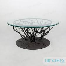round metal and ceramic mosaic table for outdoor garden triquimex