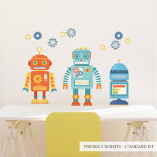 friendly robots printed wall decal standard friendly robots printed wall decal