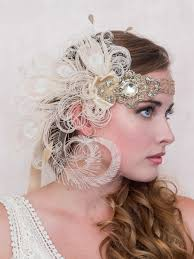 flapper headband antique gold nymph ivory peacock feather flapper headband bridal