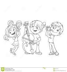 coloring page outline of children playing musical instruments