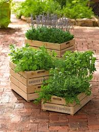 Standing Planter Box Plans by Herb Box Wooden Crate Planter With Liner Gardener U0027s Supply