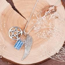 handmade angel necklace images Handmade pentacle angel wings wishing bottle necklace amethyst jpg