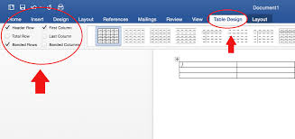 table tools design tab accessibility at penn state designating table headers