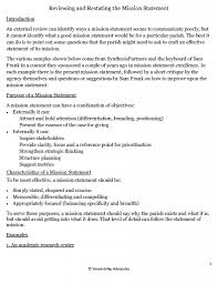 objectives of mission statement reviewing and restating the mission statement stewardship advocates reviewing and restating the mission statement 010314 page 1