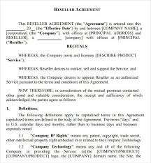 reseller contract template reseller agreement template template design