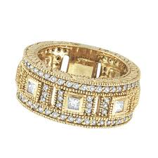 gold eternity rings 18k yellow gold 1 68ct diamond eternity ring band si1 si2 g h