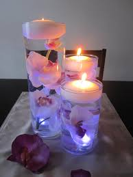 Floating Candle Centerpieces by White Purple Orchid Floating Candle Wedding Centerpiece Kit Led
