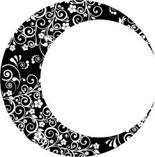 clipart floral crescent moon ii