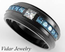 mens black wedding bands mens blue diamond ring black gold mens wedding band blue