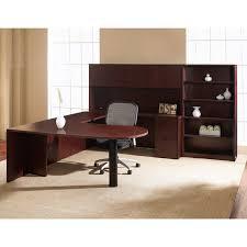u shape bullet desk w hutch bookcase 107x108 cherry or mahogany