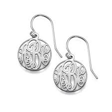 monogrammed earrings circle monogrammed earrings in silver mynamenecklace