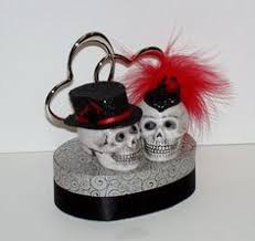day of the dead skull wedding cake topper ceramic handmade at00012