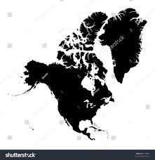 America Continent Map by Detailed North America Continent Map Black Stock Illustration