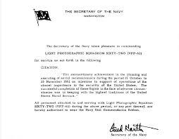 Letter Of Commendation Cuban Missile Crisis