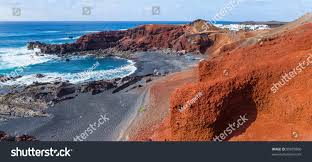 exotic beach black sand red rocks stock photo 95878966 shutterstock