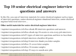 Senior Electrical Engineer Resume Sample by Top10seniorelectricalengineerinterviewquestionsandanswers 150321192525 Conversion Gate01 Thumbnail 4 Jpg Cb U003d1426966008