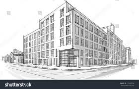 architecture sketch drawing buildingcity stock vector 179448728