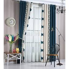 Navy Curtain Navy Blue Floral Chenille Thermal Noise Reducing Luxury Curtains