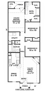 Narrow House Plans by Small Bungalow House Plans Home Design B1120 77 F 7596
