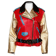 red motorcycle jacket 1990s moschino leather vintage metallic gold color block