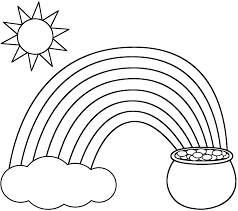 rainbow pot of gold sun and cloud coloring page nature