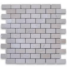 sample crema marfil 1x2 medium brick mosaic tile tumbled crema