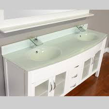 Glass Top Vanity Bathroom by Alya Bath Elite Collection Aw 082 72 W White Double Modern