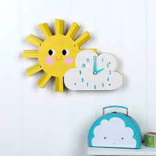Wooden Wall Clock Hello Sunshine Wooden Wall Clock Dotcomgiftshop