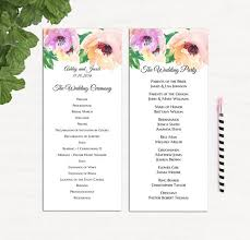 customized wedding programs blush wedding programs printed wedding program card