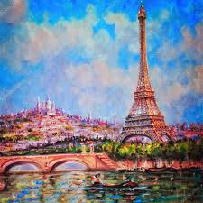 colorful painting of eiffel tower and sacre coeur in paris u2014 stock