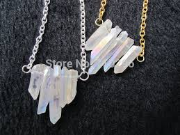 rock crystal quartz necklace images Bew designed natural clear rainbow quartz necklace with chain rock jpg